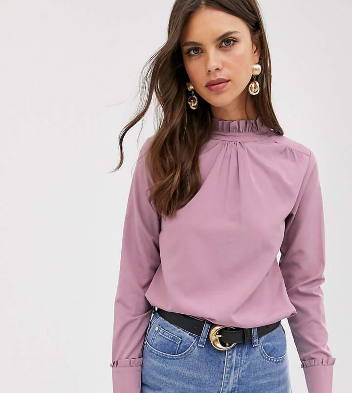 Verona high neck long sleeve top in dusty rose