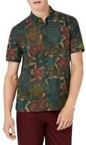 Topman Slim Fit Patchwork Cabana Print Sport Shirt