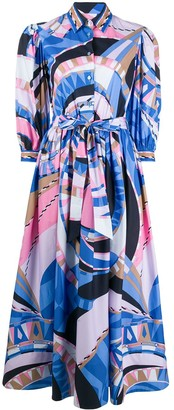 Emilio Pucci Abstract-Print Puff-Sleeve Dress