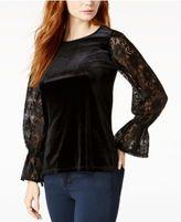 Kensie Lace-Sleeve Velvet Top