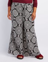 Charlotte Russe Plus Size Printed Tie-Front Palazzo Pants