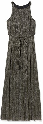 Jessica Howard JessicaHoward Women's Sleeveless Halter Neck Blouson Dress with Tie Sash Black/Gold 6