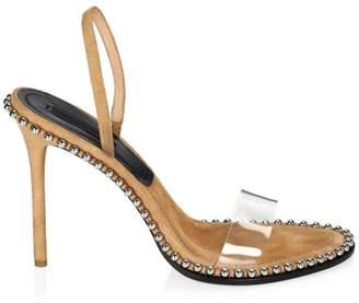 Alexander Wang Nova Studded PVC & Suede Slingback Sandals