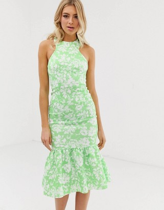 ASOS DESIGN floral print halter maxi dress with fishtail