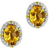 Gem Stone King 1.45 Ct Checkerboard Yellow Citrine and Diamond 14k White Gold Earrings