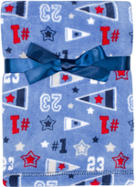 Cutie Pie Baby 30'' x 32'' Blue & Red Velboa Sports Stroller Blanket & Hanger