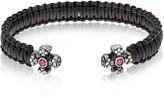 Be Unique Leather Black Bracelet w/Crystals