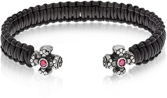 Leather Black Bracelet w/Crystals