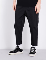 Oamc Tapered cropped high-rise cotton-blend trousers