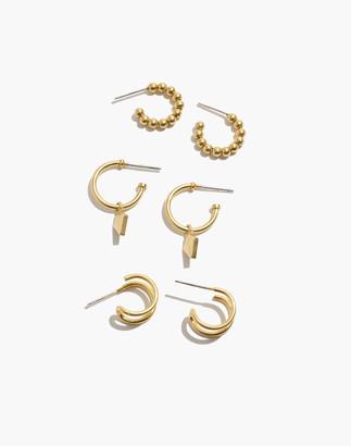 Madewell Three-Pack Collector Hoop Earring Set