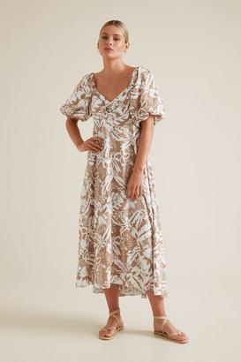 Seed Heritage Palm Print Midi Dress