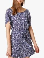 French Connection Mollara Meadow Playsuit, Nocturnal/White
