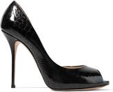 Casadei Croc-effect patent-leather pumps