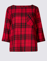 M&S Collection Modal Rich Checked 3/4 Sleeve Shell Top