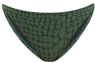 Issimo X Solid & Striped - The Tati Crocodile-jacquard Bikini Briefs - Dark Green