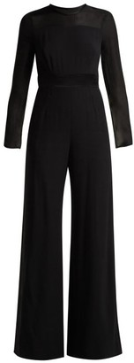 Goat Glamour Silk Trimmed Crepe Jumpsuit - Womens - Black