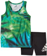adidas Run With Me Tunic Set (Baby) - Green Print - 18 Months
