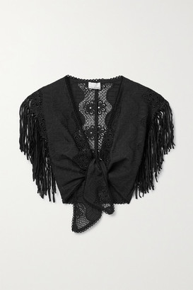 Miguelina Madison Cropped Fringed Embroidered Cotton-blend Top - Black