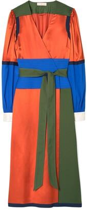 Tory Burch Color-Block Wrap Dress