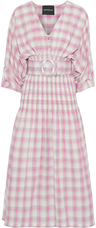 Nicholas Belted Shirred Checked Cotton-broadcloth Midi Dress