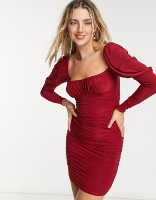 ASOS DESIGN slinky long sleeve ruched bust mini dress in burgundy