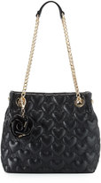 Betsey Johnson Bee Mine Heart-Quilted Shopper Bag, Black