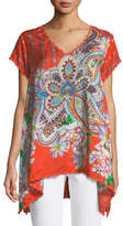 Johnny Was Linko Babydoll Printed Silk Tunic, Plus Size