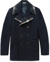 Bottega Veneta - Check-trimmed Wool And Cashmere-blend Peacoat