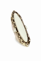 Low Luv x Erin Wasson by Erin Wasson Long Wood Ring with Ivory in Antiqued Yellow Gold