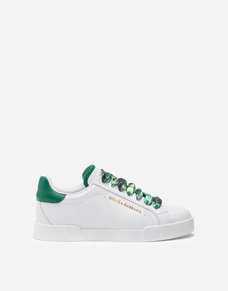 Dolce & Gabbana Portofino Sneakers In Nappa Calfskin With Lettering And Printed Silk Laces