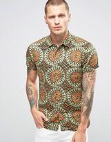 Scotch & Soda Scotch and Soda Short Sleeve Printed Linen Shirt