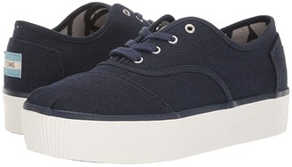Toms Venice Collection Cordones Boardwalk (Navy Heritage Canvas Platform) Women's Shoes