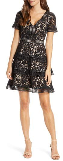 Tiered Lace Fit Flare Cocktail Dress