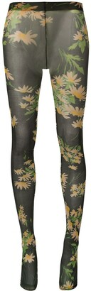 Richard Quinn Daisy Black floral-print tights