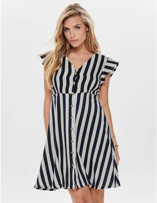 Only Striped Short Button-Through Dress with Short Sleeves
