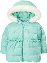 Gymboree Aqua Faux Fur-Trim Fleece-Lined Hooded Jacket - Infant & Toddler