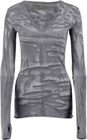 Enza Costa Printed cotton and cashmere-blend top