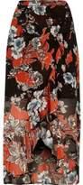 River Island Womens Black floral print ruffle hem wrap maxi skirt