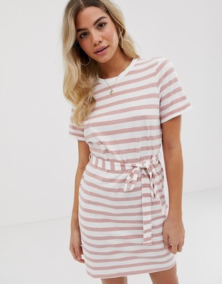 Asos DESIGN mini t-shirt dress in bold stripe with belt