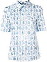 Jil Sander Navy Tile print collar T-shirt