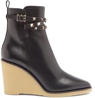 Valentino Rockstud Wedge-heel Leather Ankle Boots - Black