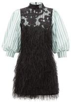 Ganni Striped-sleeve Feather Mini Dress - Womens - Black Multi