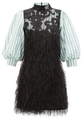 Ganni Striped-sleeve Feather Mini Dress - Black Multi
