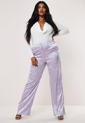 Missguided Plus Size Lilac Jacquard Satin Wide Leg Pants
