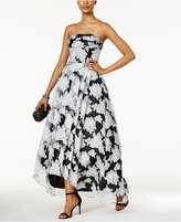 Betsy & Adam Organza Floral-Print High-Low Gown