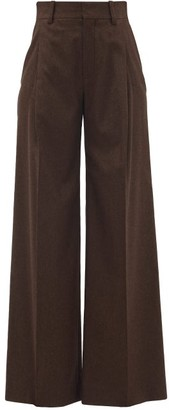 Chloé High-rise Wool-blend Wide-leg Trousers - Brown