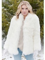 Donna Salyers' Fabulous-Furs Ivory Llama Hip-length Faux Fur Jacket.
