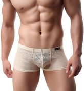 Men's Underwear, Billila High ElasticTranslucent Lace Breathable Boxer Briefs