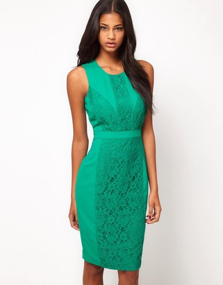 Asos Design Pencil Dress With Lace Overlay-Green