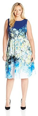 Julia Jordan Women's Plus Size Floral Fit and Flare Dress